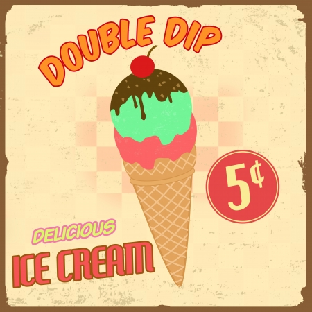 Ice cream vintage grunge poster, illustration Vector