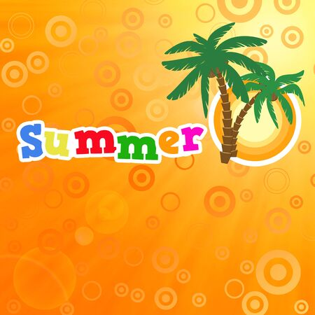Background summer poster with warm sun and palms Vector