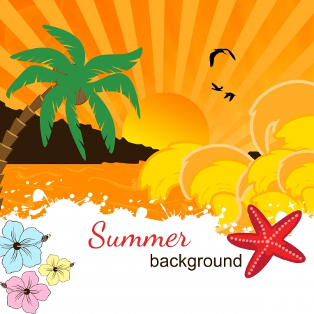 Summer background design on orange sunset and place for your text Vector