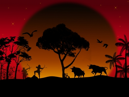 largest: The bow hunting buffalo on beautiful sunset, background illustration
