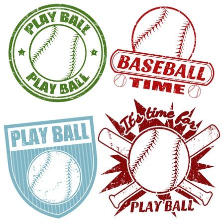 softbol: Juego de b�isbol del grunge sellos de goma, ilustraci�n vectorial