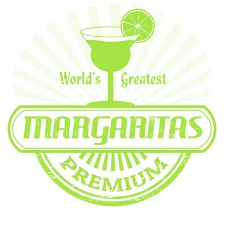 happy hour: Margaritas grunge rubber stamp on white background, vector illustration Illustration