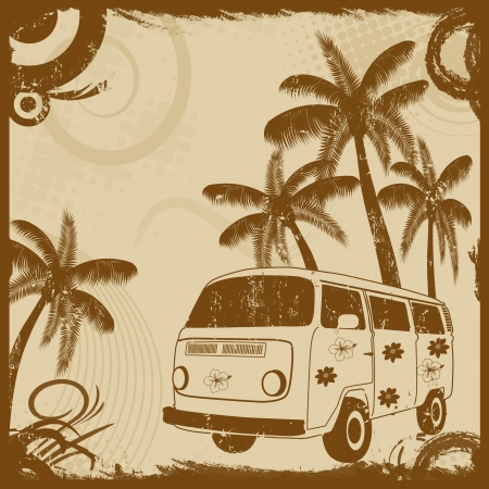 sunset painting: Vintage grunge flyer with old fashion bus and palms, vector illustration Illustration