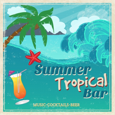 Cartel de la muestra de bar tropical junto al mar vintage, ilustración vectorial
