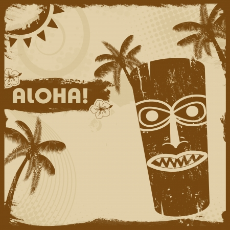 tiki: Vintage grunge flyer with tiki and palms, vector illustration