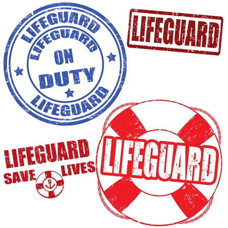 Set of grunge lifeguard rubber stamps,  illustration Stock Vector - 20238207