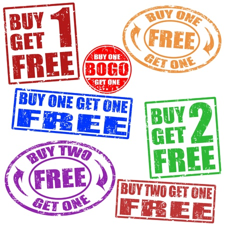 bogo: Set of grunge rubber stamps with promotional sale,  illustration
