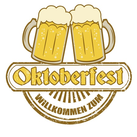 oktober: Grunge rubber stamp with beer mugs and the text Oktoberfest written inside,illustration Illustration