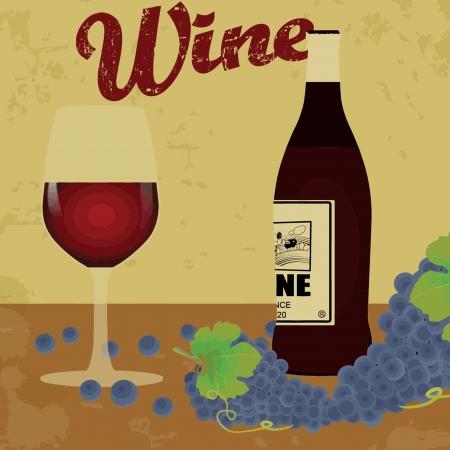 Wine vintage grunge poster,  illustrator Vector