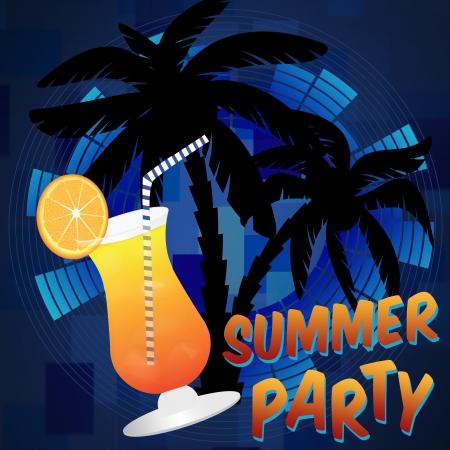 nightlife: Beach summer party background, illustration Illustration