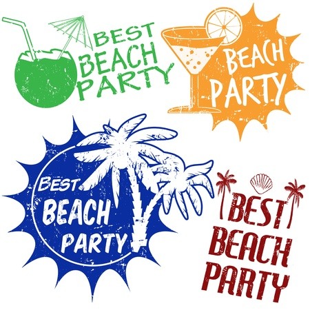 Set of beach party grunge rubber stamps  on white background, illustration Vector