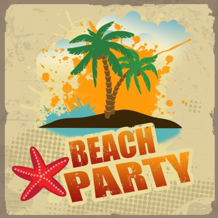 beach party: Tropical beach party poster with splash and palms on vintage style,  illustration