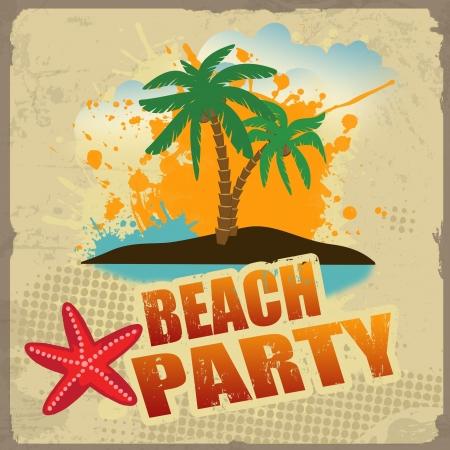 festa: Tropical cartaz festa na praia com respingo e palmas em estilo vintage, ilustra