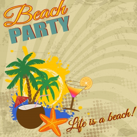starfish beach: Vintage Beach Party poster on retro style, illustration