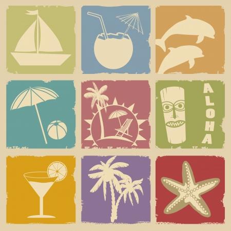 Set of Vintage Summer Labels - Retro Signs with Grunge Effect,illustration  Vector