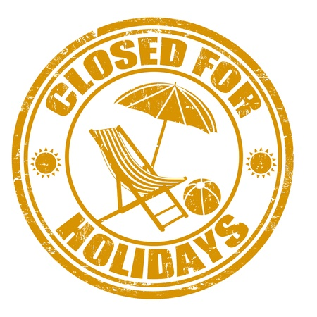 beach closed: Closed for holidays grunge rubber stamp, illustration