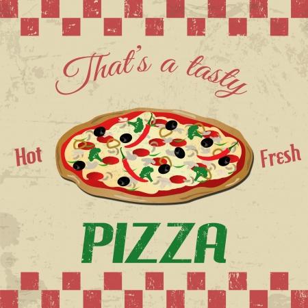 pizza: Pizza cartel grunge vintage, ejemplo Vectores