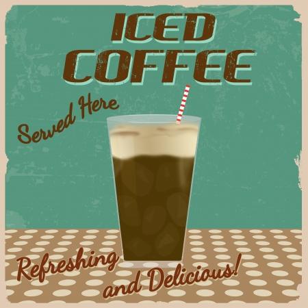 iced coffee: Iced coffee  vintage grunge poster,  illustration Illustration