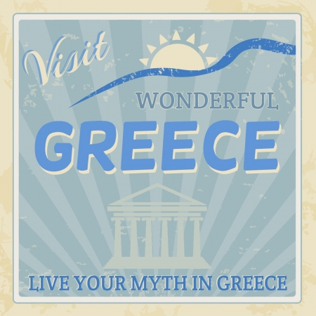Vintage touristic poster background - Visit wonderful Greece, illustration Stock Vector - 20613845