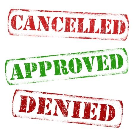 canceled: Set of approval grunge rubber stamps - cancelled, approved, denied, illustration Illustration