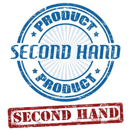 second hand: Set of second hand grunge rubber stamps, illustration