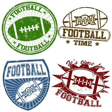 football american: Set of american football grunge rubber stamps, illustration
