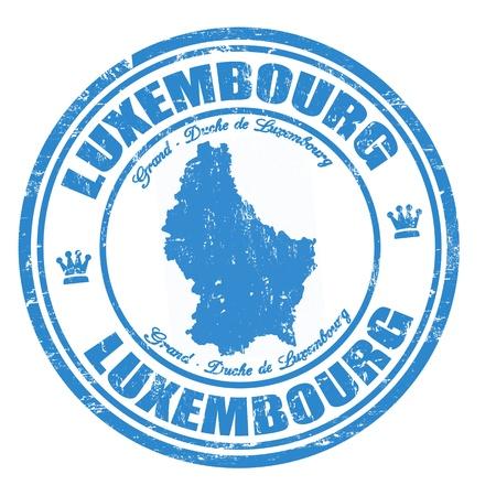 Grunge rubber stempel met de naam en de kaart van Luxemburg, illustratie