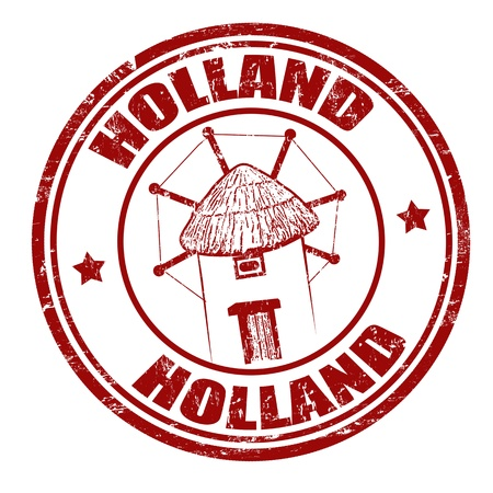 Grunge rubber stamp with windmill and the word Holland inside, illustration Stock Vector - 20613941