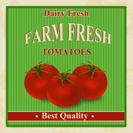 style: Vintage fresco granja orgánica tomates cartel, ilustración