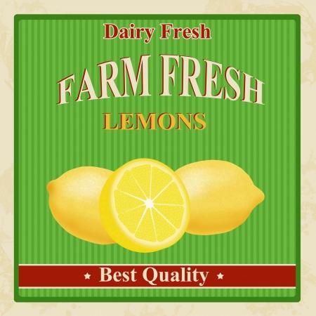 Vintage farm fresh organic lemons poster, illustration Vector