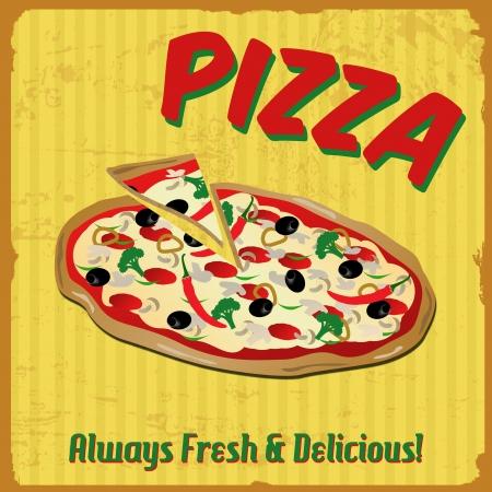 imperfections: Pizza vintage grunge poster, illustration