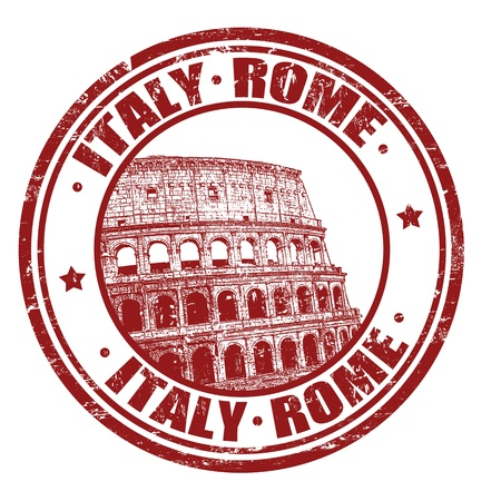 roman empire: Grunge rubber stamp with Colosseum and the text Rome, Italy inside, illustration