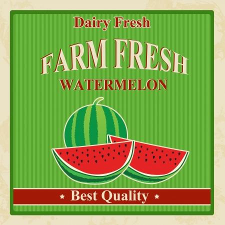 Vintage farm fresh organic watermelon poster, illustration Vector