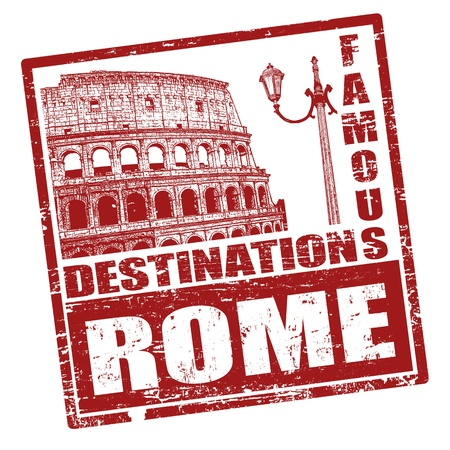 Grunge rubber stamp with Colosseum shape and the word Rome written inside Vector
