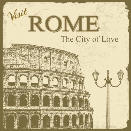 colosseo: Vintage turistico poster background - Visita Roma la citt� dell'amore, illustrazione