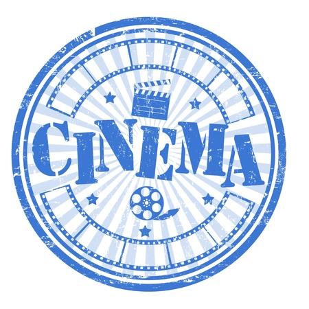 cinematografico: Sello del grunge abstracto con el interior cine palabra, la ilustraci�n