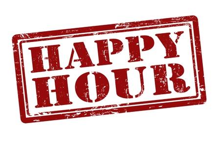 hour: Happy Hour grunge rubber stamp, illustration Illustration