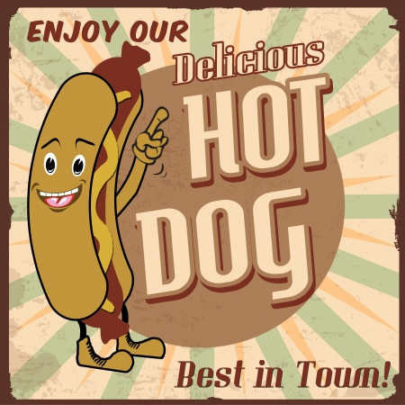 50s: Vintage hot dog background,  illustration