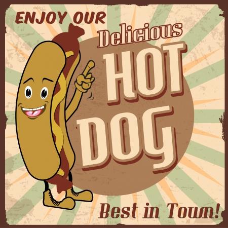 Vintage hot dog background,  illustration