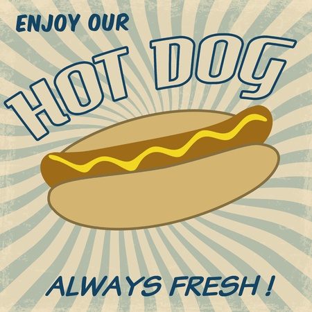 Vintage hot dog background,  illustration Vector