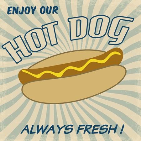 Vintage hot dog background,  illustration Stock Vector - 20854242