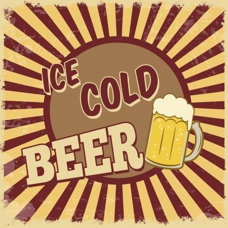 Vintage ice cold  beer poster,  illustration Vector