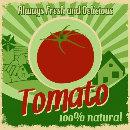 healty lifestyle: Vintage poster template for tomato farm, illustration