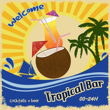 Retro poster template for tropical bar, illustration Vector