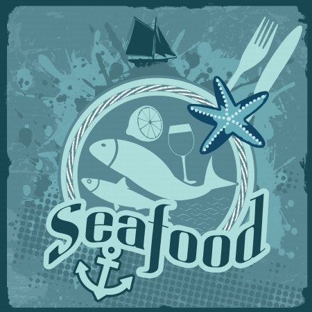 Vintage poster for seafood restaurant with fish and food,  illustration Vector