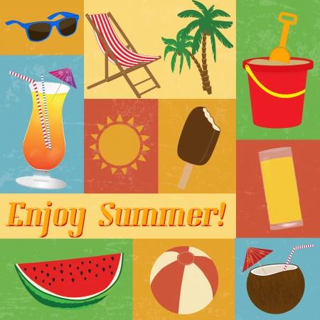 sunscreen: A set of vintage summer-themed cards, illustration