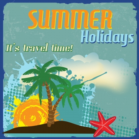 Summer holidays poster with splash and palms on vintage style, illustration Stock Vector - 20854323