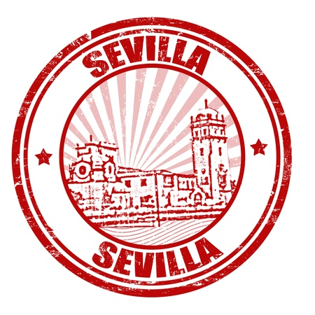 andalusia: Sevilla grunge rubber stamp,   illustration