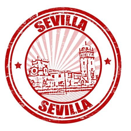 Sevilla grunge rubber stempel, illustratie