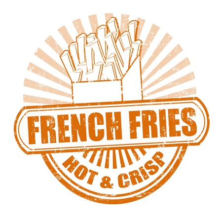 Grunge rubber stamp, with the text french fries written inside,  illustration Vector